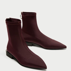ZARA Flat Stretch Ankle Boots with Ring Detail